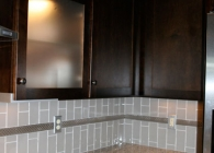 Grey Glass Subway Tile Backsplash