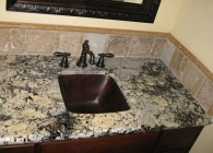 Square Sink with an Eye-Catching Granite