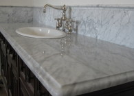 White Carrera Marble Bathroom Counter