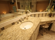 Designer Master Bathroom with Giallo Ornamental Granite