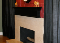 Travertine Fireplace - AFTER