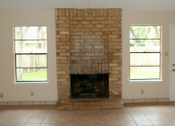 Dated Brick Fireplace - BEFORE