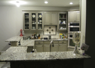 Azul Aran Granite Kitchen with Half Inch Bevel Edge
