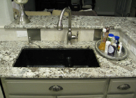 Azul Aran Granite Kitchen with Half Inch Bevel Edge and an Under Mount sink