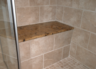 Master Bathroom Shower Bench in Granite