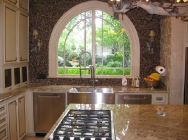 Typhoon Bordeaux Granite and Tile Back Splash