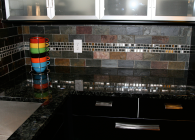 Volga Blue Granite and Stainless Steel Tile