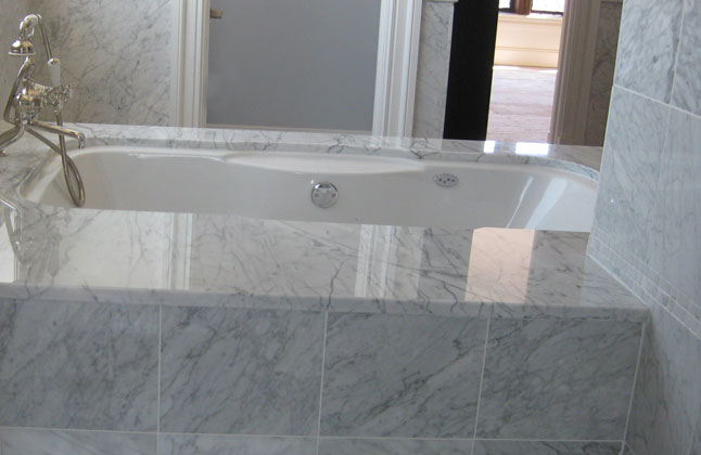 Carrera marble bathroom for Carrera bathroom ideas