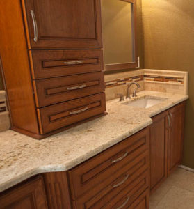 Bathroom Vanity Top on Custom Cherry Cabinets in Circle C in Austin