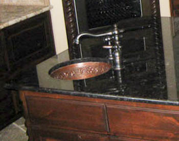 Copper Undermount Bar Sink in Antique Brown Granite
