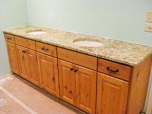 Double Vanity Top in Yellow River Granite