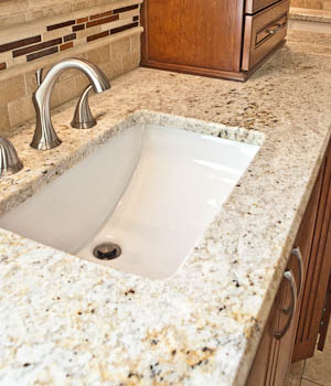Undermount Stainless Steel 50 50 Sink In Giallo Muscat Granite