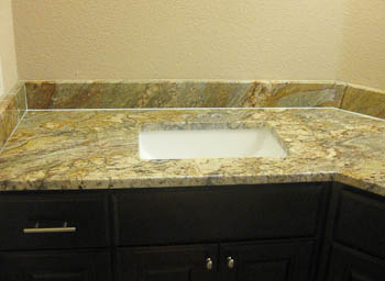 Undermount Rectanguylar Sink in a Bathroom Vanity Countertop