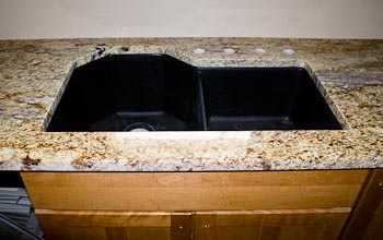 Composite Double-Bowl Undermount Sink in Yellow River Granite