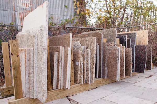 Neatly filed remnant granite slabs in brown in Austin Texas