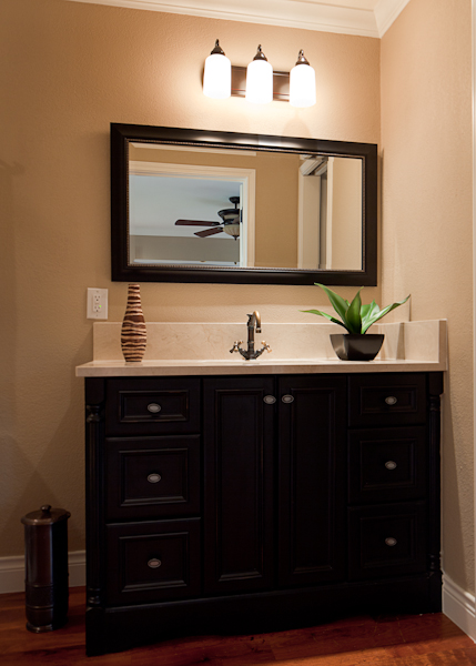 This Master Bathroom Vanity was small – only 48 inches across, and