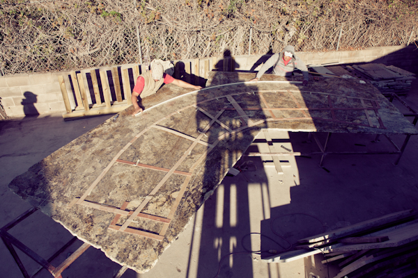 Laying out a HUGE granite kitchen island in Austin, TX