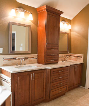 Master Bathroom Remodel: Colonial Gold Granite Countertop