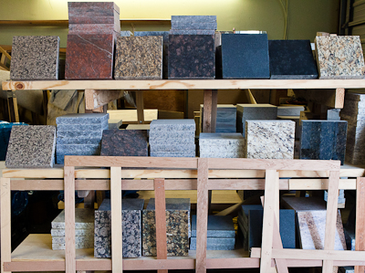 Granite samples at Granite Fabricator Toluca Granite
