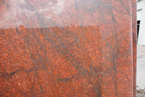 Red Dragon granite for a kitchen island in Austin Texas