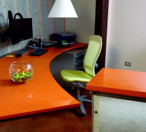 CaesarStone Quartz Desk in Tequila Sunrise 2430 (Commercial Line)