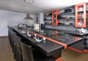 CaesarStone Quartz Bar Counter Tequila Sunrise and Ebony Reflections (Commercial Line)