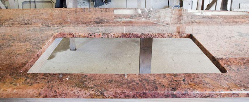 Rectangular Sink Hole: Cabernet Bordeaux Granite