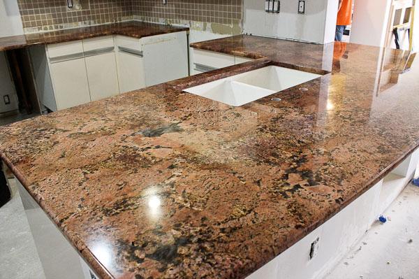 Cabernet Bordeaux Granite Kitchen Island (Peninsula)