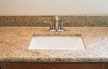 Halfinch Bevel Edge on Ornamental Granite, Rectangular Sink