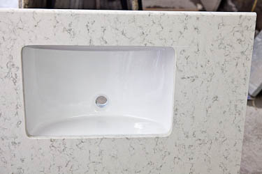 Hanstone quartz aspen bathroom vanity top for Bathroom quartz vanity tops