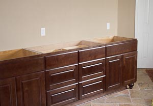 Master Bathroom Vanity with Cherry Cabinets
