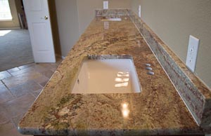 Master Bathoom Vanity Top with two rectangular undermount sinks
