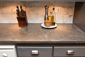 Nova Blue Limestone Counter with Flat-Polish Edge