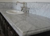 White Carrera Marble Bathroom Counter