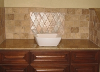 Small Bathroom Counter with Square Vessel Sink