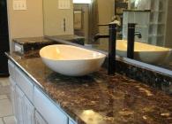 Emperador Dark Marble Bathroom Counter with Vessel Sink