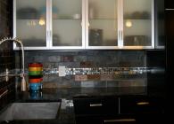 Volga Blue Granite and Stainless Steel Tile