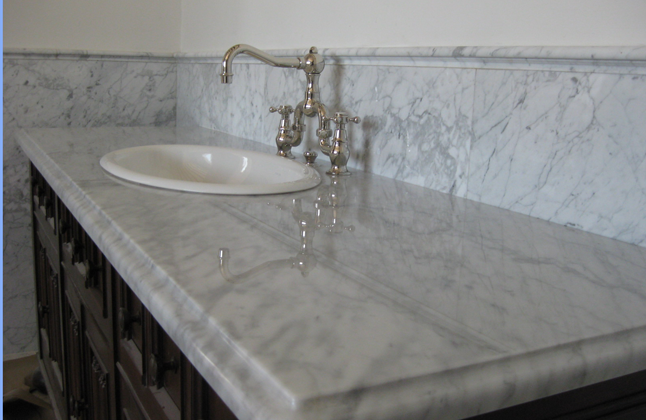 Carrera Marble Bathroom Counter