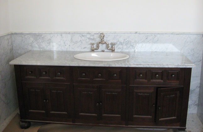 Carrera Marble Countertop, Custom Cabinet