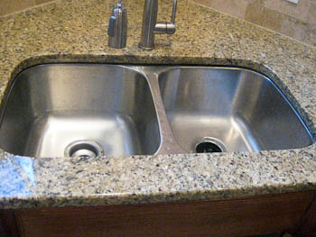 Double Bowl Undermount Sink Stainless Steel In Granite Rectangular Bathroom Countertop