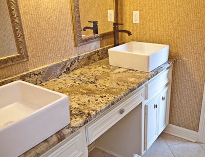 Neptune Bordeaux Granite Square Vessel Sink Bathroom Vanity Top