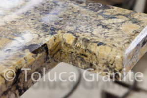 inside corner of an extra-thick granite counter