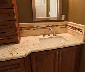 Master Bathroom Remodel Colonial Gold Granite Countertop