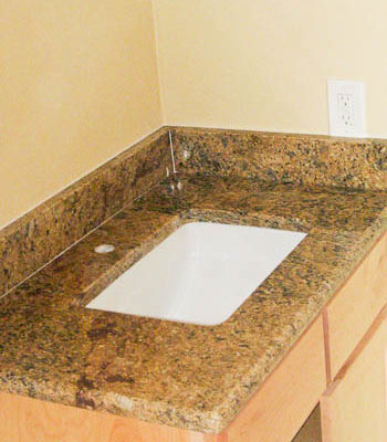 Bathroom Vanity Top with Square Undermount Sink - new Venetian Gold Granite