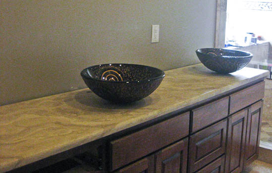 Travertine bathroom vanity Austin TX Natural Stone Countertop