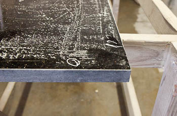 The cut edge of the granite before adding a half-bullnose edge