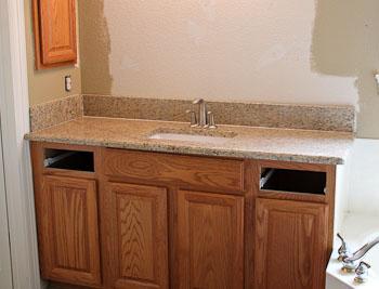 Ornamental Granite Bathroom Vanity Top Oak Cabinets