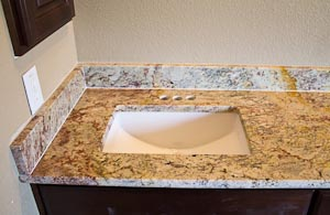 Rectangular Sink in Granite Vanity Top