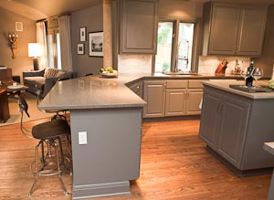 Kitchen Peninsula in Nova Blue Limestone