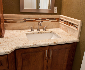 Glass Tile and Travertine Backsplash